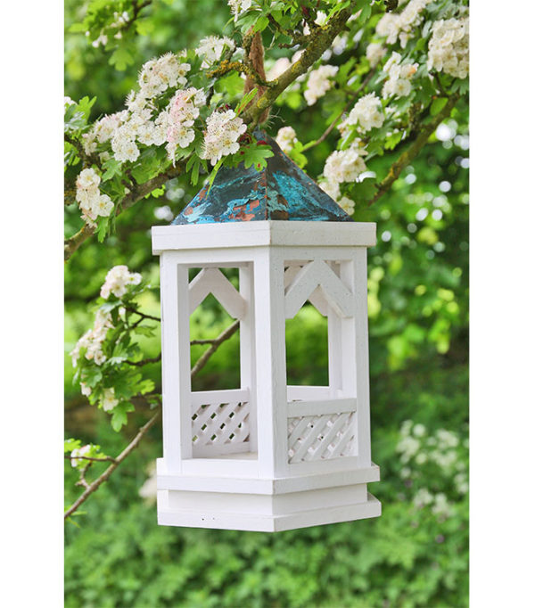 White Gothic Hanging Bird Table